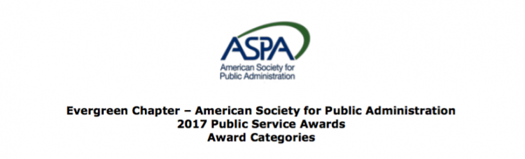 Evergreen Chapter of ASPA - 2017 seeking nominations