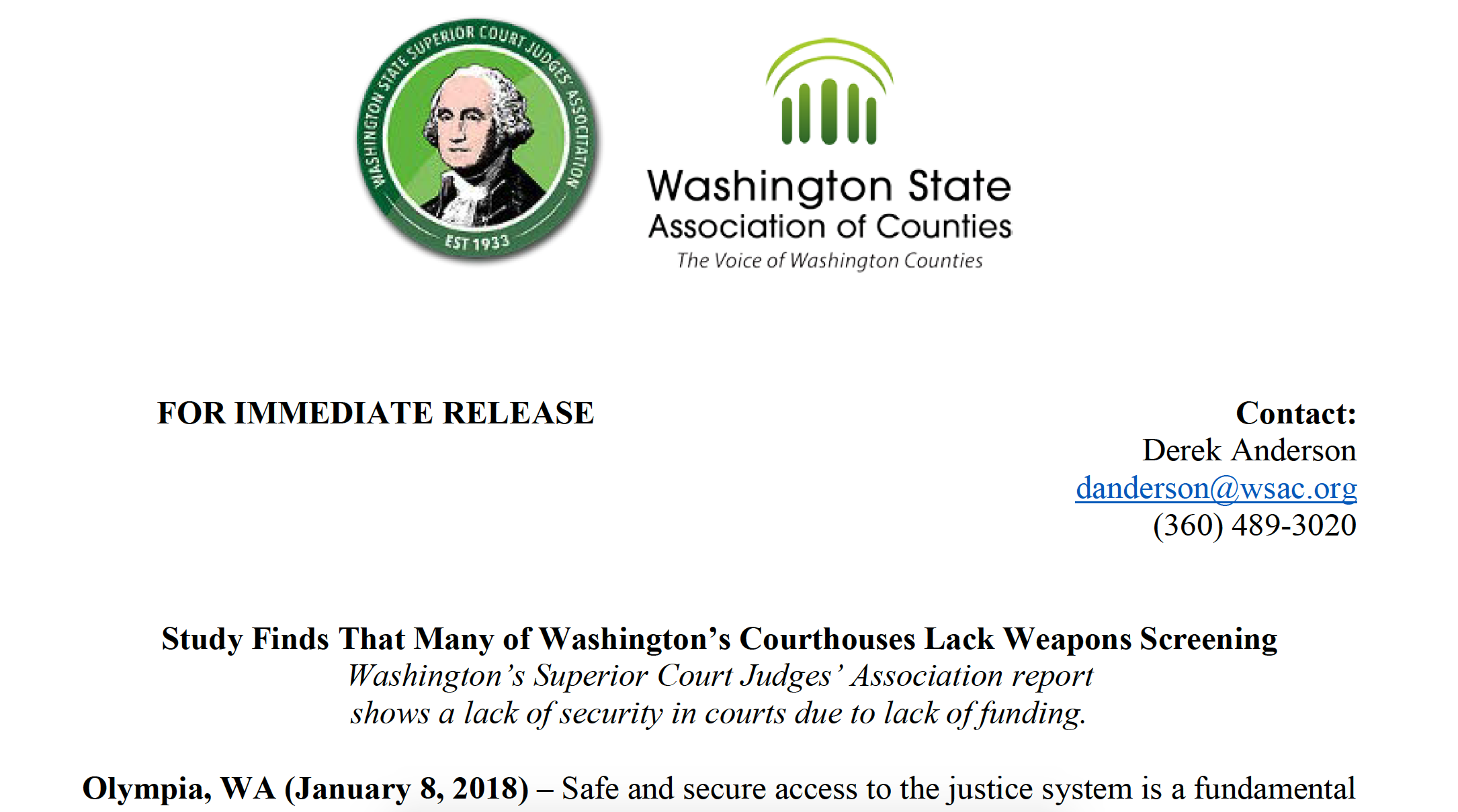 Report on Court Safety is Grim – Washington State